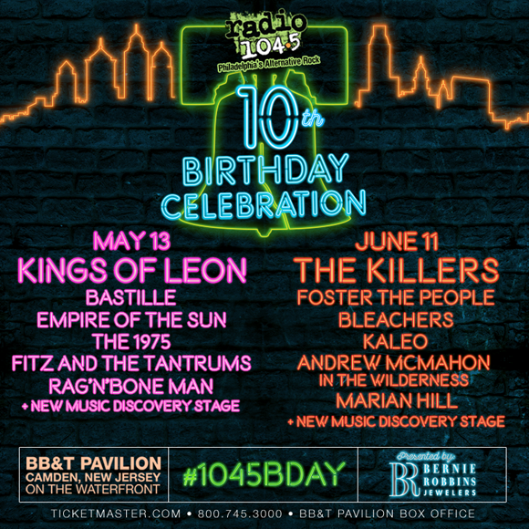 Radio 104.5's 10th Birthday Show: The Killers, Kaleo, Andrew McMahon, Foster The People & Bleachers at BB&T Pavilion