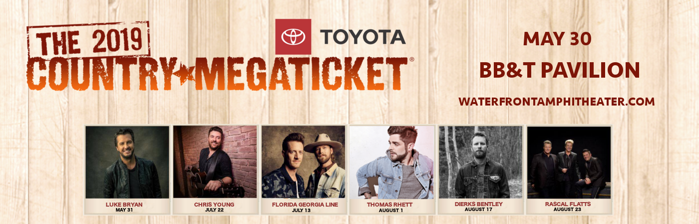 2019 Country Megaticket Tickets (Includes All Performances) at BB&T Pavilion