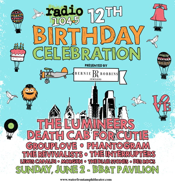 Radio 104.5 Birthday Show: The Lumineers, Death Cab For Cutie, Grouplove, Phantogram & The Revivalists at BB&T Pavilion